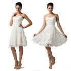Crochet Ivory Lace Short Formal Party Cocktail Evening Wedding Prom Bridal Dress