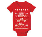 Merry Christmas Shitters Full Baby xmas  outfit  cute  humor Red Baby One Piece