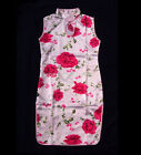 Chinese qipao red flower kid`s dress gown clothing 076304 white china size 2-10