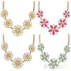 Exquisite Daisy Flowers Charm Chain Trendy Fake Diamond Crystal Pendant Necklace