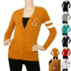 IRON PUPPY Jniors L/Slv V-neck Patch Button Down Casual Cardigan Knit Sweater