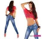H60 Womens Sexy Skinny Jeans Trousers Destroyed Hipsters XS 6 - XL 14