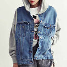 Women Korean Style Jacket Denim Hooded Loose Baseball Sportwear Single Breasted