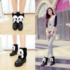 Womens Fur Furry lovely panda head decor wedge heels pull on ankle snow boots