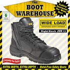 """WIDE LOAD (NH1)  'EXTRA WIDE'  6"""" Work Boots.  Composite Toe Safety.  Zip-Side"""