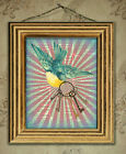 Vintage dictionary bird and keys print picture shabby chic original art