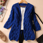 New Women's Candy Color Winter Autumn Knitted Cardigan Casual Long Sweater