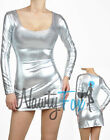 Sexy Shiny Metallic Silver Long Sleeve Scoop Neck Fitted Clubwear Dress S-3XL