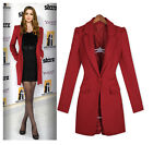 Women's Slim One Button Lapel Elegant Long Outdoor Jacket Wool Blend Overcoat Sz