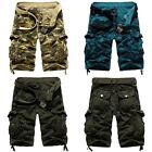 Mens Army military Cargo Combat Camo Cotton Shorts Overall Pants 3 Color #