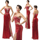 Sexy Strapless Sequins Split Long Formal Gown Party Evening Gown Women Dress e-v