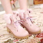 Cute Womens Shoes Faux Fur Lace Up Bowknot Chunky Low Heel Girls Ankle Snow Boot
