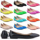 WOMENS FAUX LEATHER PATENT FLATS DOLLY BALLET PUMPS PARTY SHOES SIZE 2-9 NEW