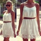 New White Sexy Summer Fashion Women Ladies Lace Mini Party Evening Dress