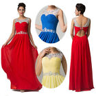 NEW STOCK Long Sequins Chiffon Womens Backless Evening Bridesmaid Party Dresses