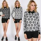 Vintage Womens Long Sleeve Floral Knitting Lapel T Shirt Casual Blouse Tops Hot