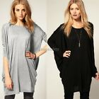 Women New Trendy Bat Sleeve Loose Long Over Size T Shirt Top Black Grey HOT
