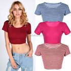 Sexy Women Scoop Neck Fitted Crop Tops Vest Short Sleeve Stretchy Tee Shirt