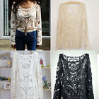 Sexy Women's Semi Sheer Sleeve Embroidery Floral Lace Crochet Tee Tops Blouse