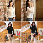 Fashion Tops High Neck Frilly Ruffle Womens Victorian Long Sleeves Shirt Blouse