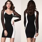 Sexy Womens Formal Stripes Above Knee Mini Dress Bodycon Slim Fit Size S,M,L New