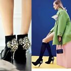 Women's Luxury Rhinestone Faux Suede Pointed Toe High Heels Ankle Boots Shoes Sz