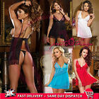 UK BABY DOLL SEXY LACE LINGERIE Nightwear Underwear FREE G-STRING PLUS SIZE