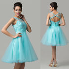 2014 Short Beaded Tulle Evening Prom Gown Bridesmaid Homecoming Masquerade Dress