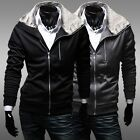 Hot Selling Men Exquisite Faux Fur Collar Jacket Slim Zip Up Cardigan Sweaters