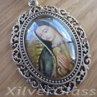 ANTIQUE GLASS CABOCHON NECKLACE PENDANT GUADALUPE SILVER PLATED LONG CHAIN (3)