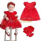 Xmas Newborn Baby Girls Petals Party Dress + Flower Headband 2PC Outfit 9-24M