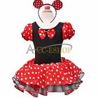 Halloween Xmas Baby Girls MINNIE MOUSE Costume Tutu Dress Up + Ears Size 2T-10