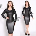 Womens PU Leather Stretch Fabric Short Sleeve Pencil Sexy Dresses UK Size 4-10