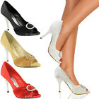 LADIES WOMENS WEDDING BRIDAL MID LOW PEEP TOE HIGH HEELS PROM COURT SHOES SIZE