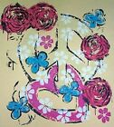 NEW Womens Montage of Peace Sign Heart & Rose Yellow Long-Sleeve T-Shirt M L