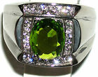 Men's 7.2ctw Peridot & Topaz Stainless Steel Ring * August Birthstone  Exclusive