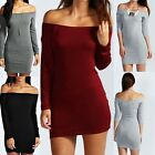 Sexy Boohoo Women's Lady Alice Off The Shoulder Long Sleeve Bodycon Dress Autumn