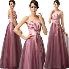 Women Vintage Design Tulle Long Gown Evening Prom Party Bridesmaid Wedding Dress