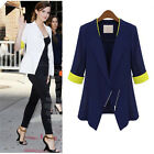 Women Female Oblique Zipper Style 3/4-sleeved Small Suits Office Lady Blazers