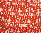 Merry Christmas Trees Festive Decorations Polycotton Fabric FREE POSTAGE