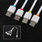 4Colors 4in1 USB Multi Charger Flat Cable for iPhone/iPad/Samsung Noet3/Sony/HTC