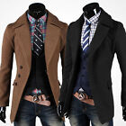 Black/Camel Men's Military Button Jacket Outerwear SLIM FIT Outdoor Trench Coat