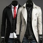 PJ Men's Stylish Double Breasted Windbreaker Suits Formal Coat Outerwear Parka