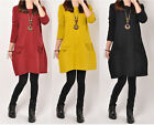 Autumn new korean vogue lady's unique pockets  Leisure long T-shirt loose dress