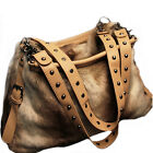 Retro Rivet Hobo Women Faux Rabbit Fur Messenger Satchel Shoulder Purse Handbags