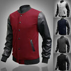 Popular 2014 PU Leather Baseball Men Casual Coats Motorcycle Jackets Bomber Tops