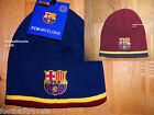 REVERSIBLE ! OFFICIAL BARCELONA BEANIE HAT Navy / Maroon Mens Football Soccer