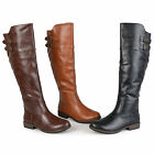 Внешний вид - Journee Collection Womens Wide And Extra Wide Calf Buckle Detail Riding Boots