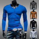 Trendy Solid Men Muscle Man Slim Fit Long Sleeve Casual T-Shirt Winter Under Top