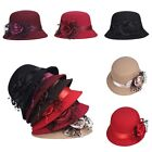 Fashion Ladies Women's Grace Wool Lace Rose Bowler Fedora Derby Hat Cloche Cap